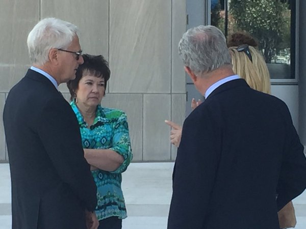 Carol Bundy (second from left) speaks to the attorneys for her husband Cliven Bundy Wednesday, May 25, 2016, outside the federal courthouse in downtown Las Vegas. [Sergio Avila | News3LV]