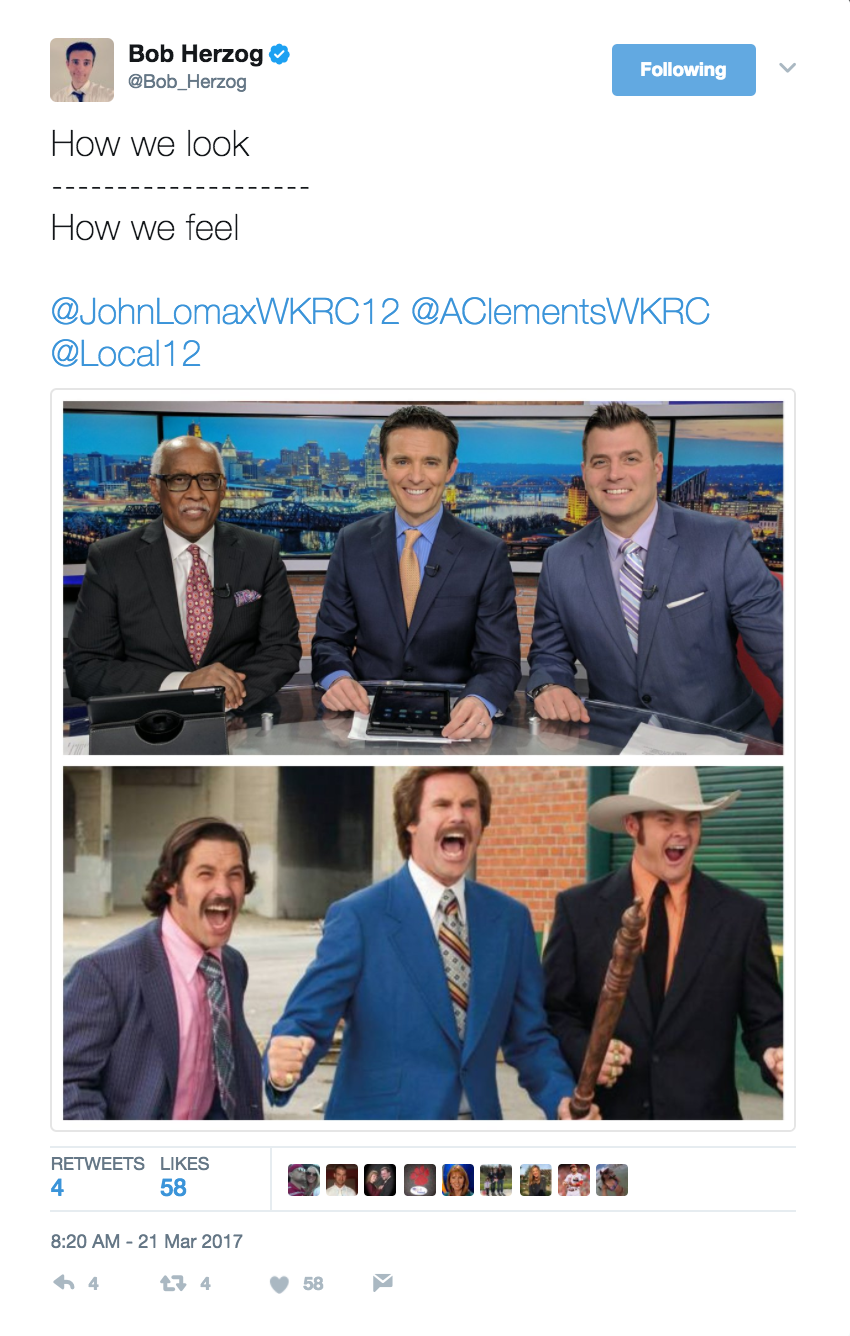 "I'd watch a reboot of Anchorman starring Bob and the morning news crew faster than you could say ""I love lamp."" Give him a follow: @Bob_Herzog / Image courtesy of @Bob_Herzog on Twitter // Published: 6.2.17"
