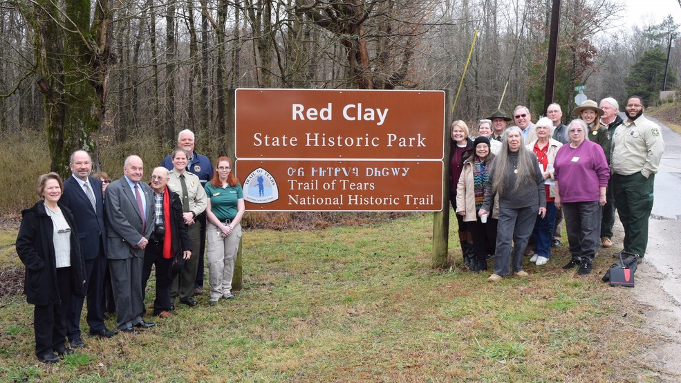 New signs to the entrances of red clay state historic park wtvc cleveland and bradley county leaders members of the tennessee trail of tears association the north carolina tota friends of red clay national park publicscrutiny Image collections