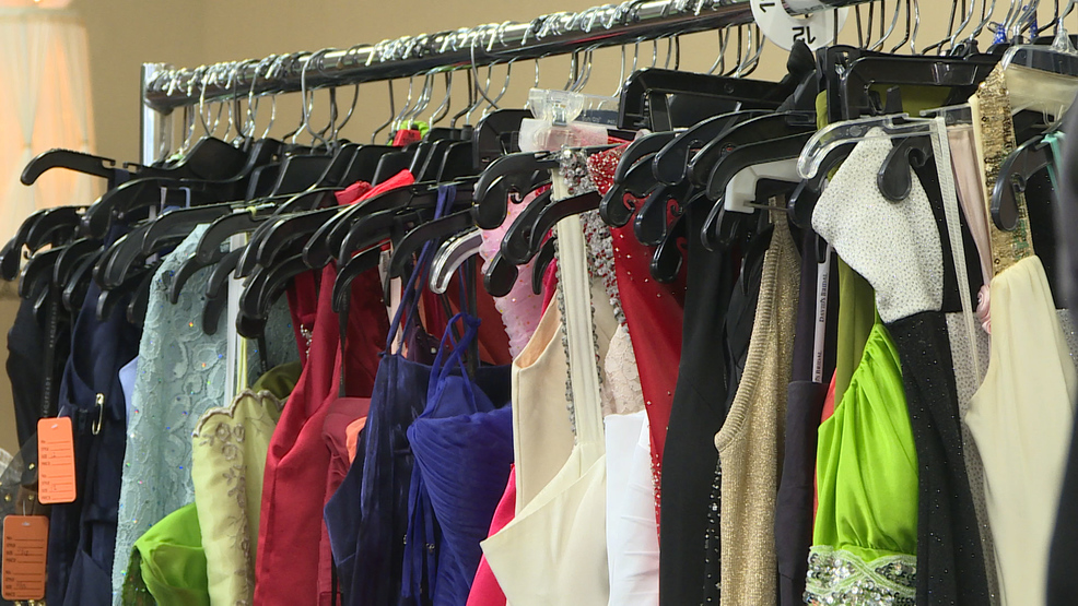 8b8bd8b712f A rack of donated dresses for the Mac s Prom Experience giveaway on Saturday  in Medford. (Jennevieve Fong   News 10)