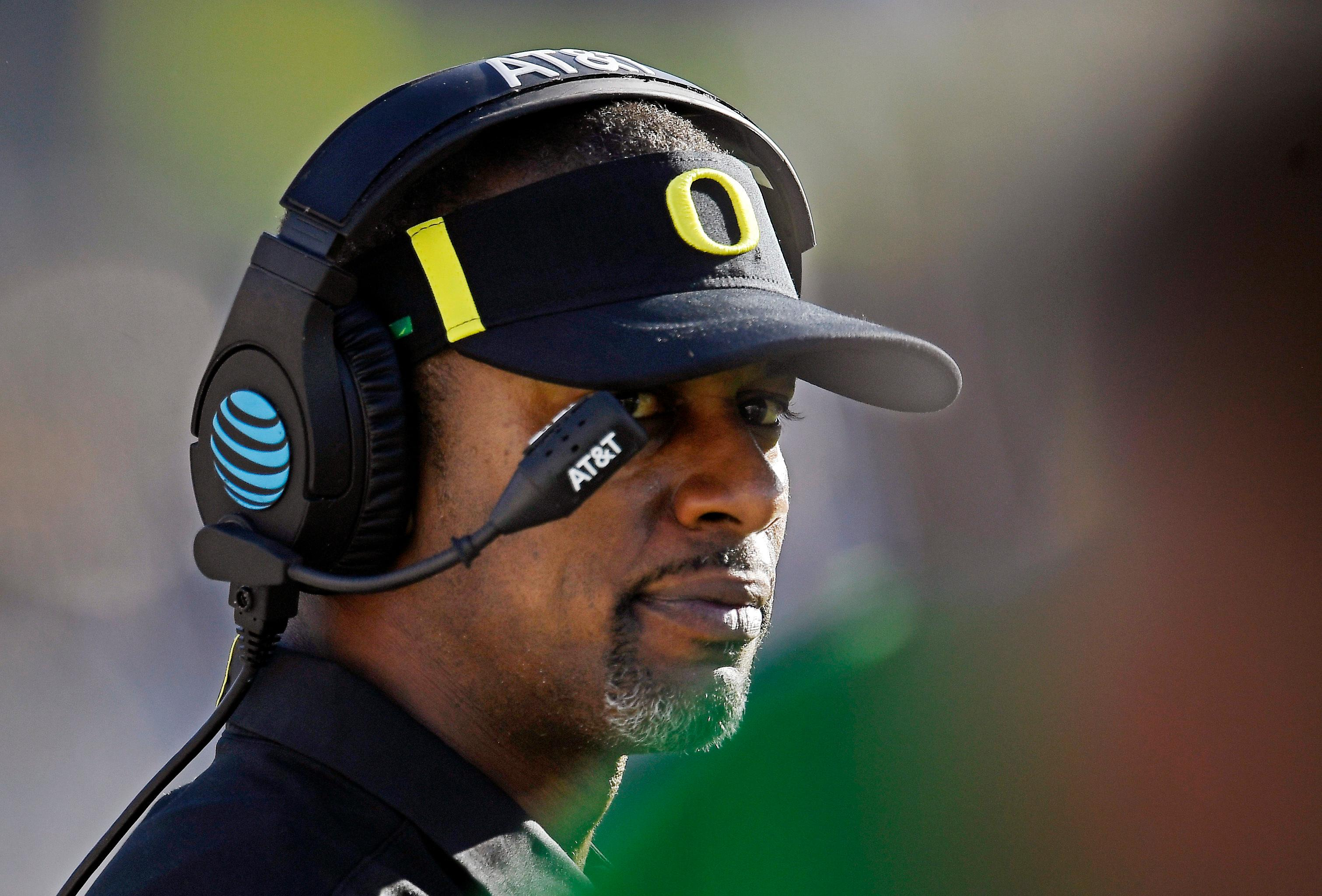 FILE - In this Oct. 21, 2017, file photo, Oregon head coach Willie Taggart looks on from the sideline during the second half of an NCAA college football game against UCLA in Pasadena, Calif.  A person with direct knowledge of the situation says Willie Taggart has agreed to become Florida State's next football coach.  The person says Taggart has called a team meeting to inform his Oregon players he is heading to Tallahassee to replace Jimbo Fisher. Florida State. The person spoke to The Associated Press Tuesday, Dec. 5, 2017, on condition of anonymity because neither school had announced the move.  (AP Photo/Mark J. Terrill, File)