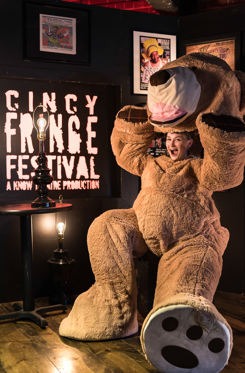 "Artist Leah Strasser poses for a photoshoot to promote the 2018 Fringe Festival at Know Theater. When asked to describe Fringe Fest in three words, she said ""freaky, current, frenzied."" First published on May 28 in ""Cincy Fringe Fest In Three Words By Those In The Know"" / Image: Phil Armstrong"