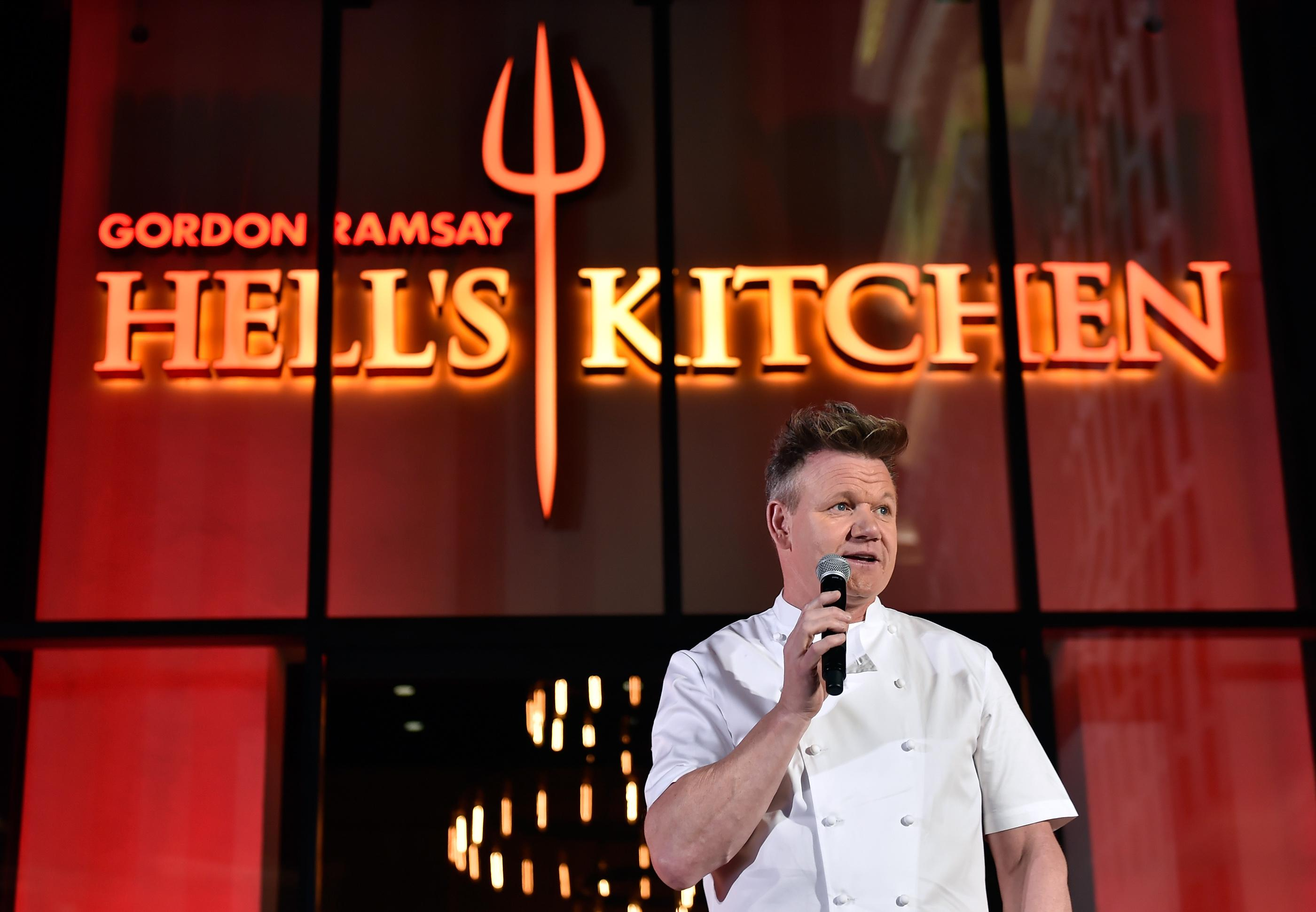 Chef Gordon Ramsay speaks during the grand opening of Gordon Ramsay Hell's Kitchen at Caesars Palace Friday, Jan. 26, 2018, in Las Vegas. CREDIT: David Becker/Las Vegas News Bureau