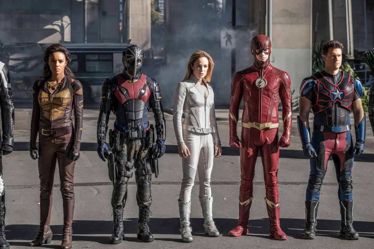"DC\'s Legends of Tomorrow -- ""Crisis on Earth -- X, Part 4"" -- Image Number: LGN308c_0118b2b.jpg -- Pictured (L-R): Rick Gonzalez as Rene Ramirez/Wild Dog, Maisie Richardson- Sellers as Amaya Jiwe, Vixen, Caity Lotz as Sara Lance/White Canary, Grant Gustin as Barry Allen/The Flash, Nick Zano as Nate Heywood/Steel and Stephen Amell as Oliver Queen/Green Arrow-- Photo: Bettina Strauss/The CW -- �© 2017 The CW Network, LLC. All Rights Reserved."