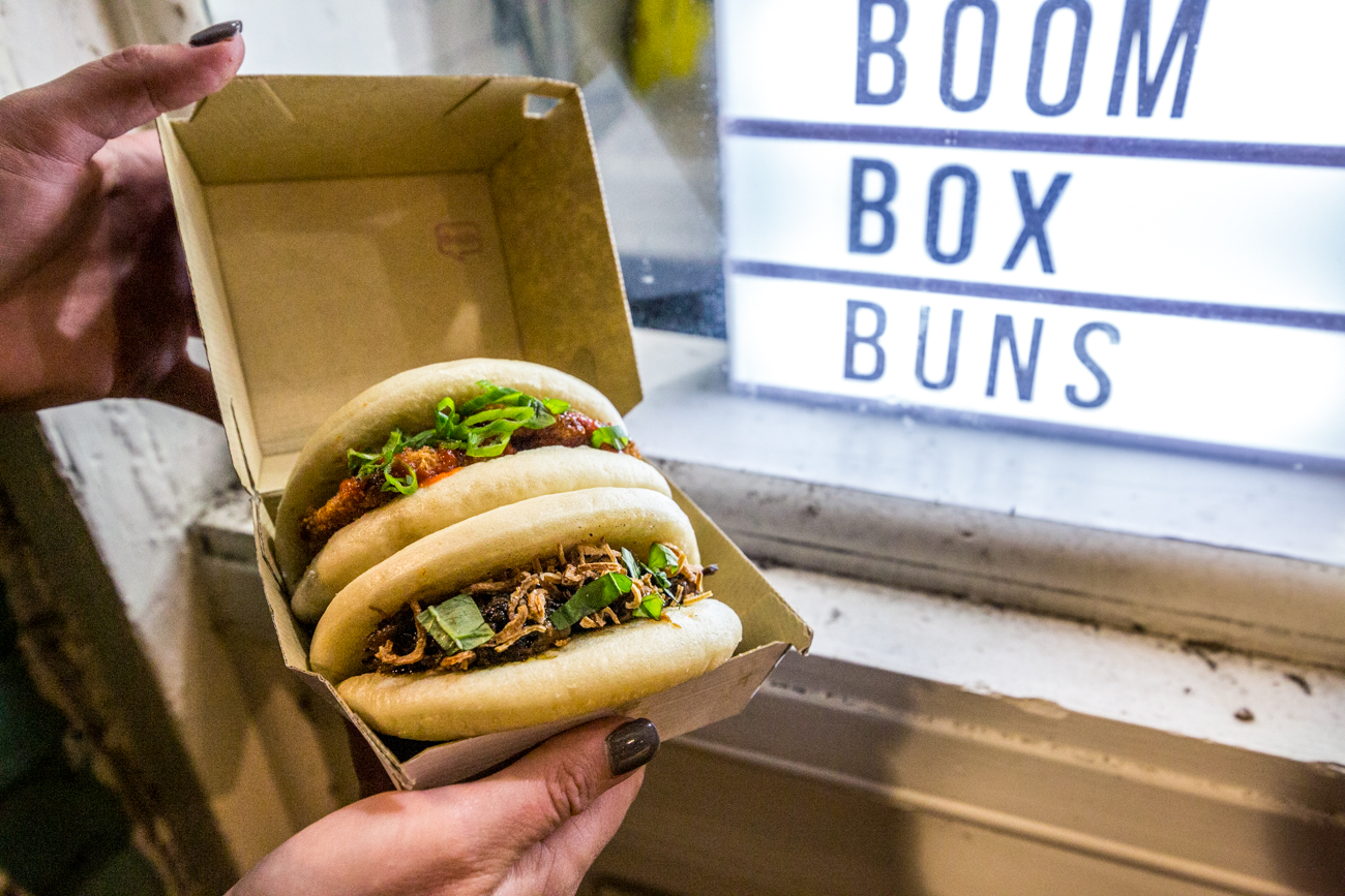 Boom Box Bun's Veg Bun (sweet potato, and sriracha mayo) and Beef Bun (mayo, basil, and crispy shallots) / Image: Catherine Viox // Published: 11.12.19