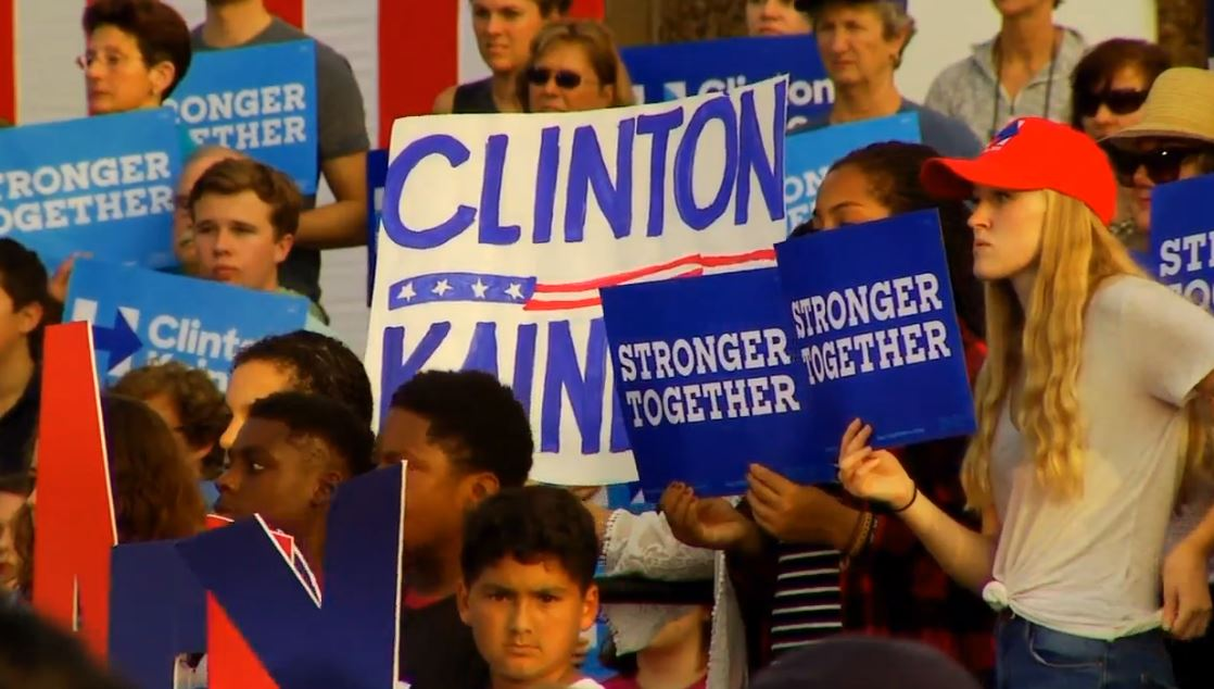The scene at UNC Asheville on Wednesday, Oct. 19, 2016 where Democratic vice presidential nominee Tim Kaine spoke. (WLOS)