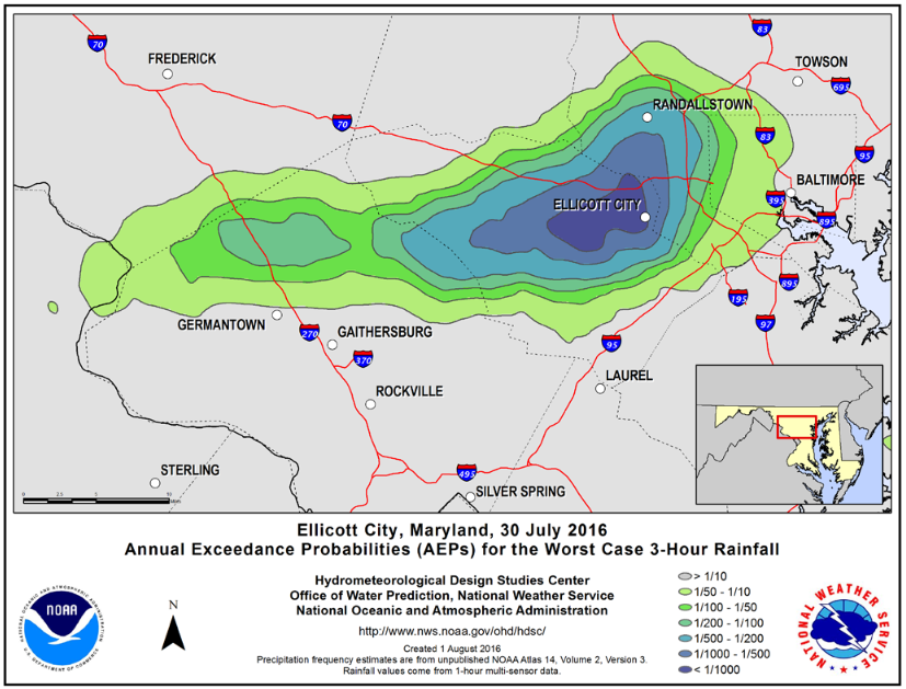 Ellicott City Rainfall June 30, 2016