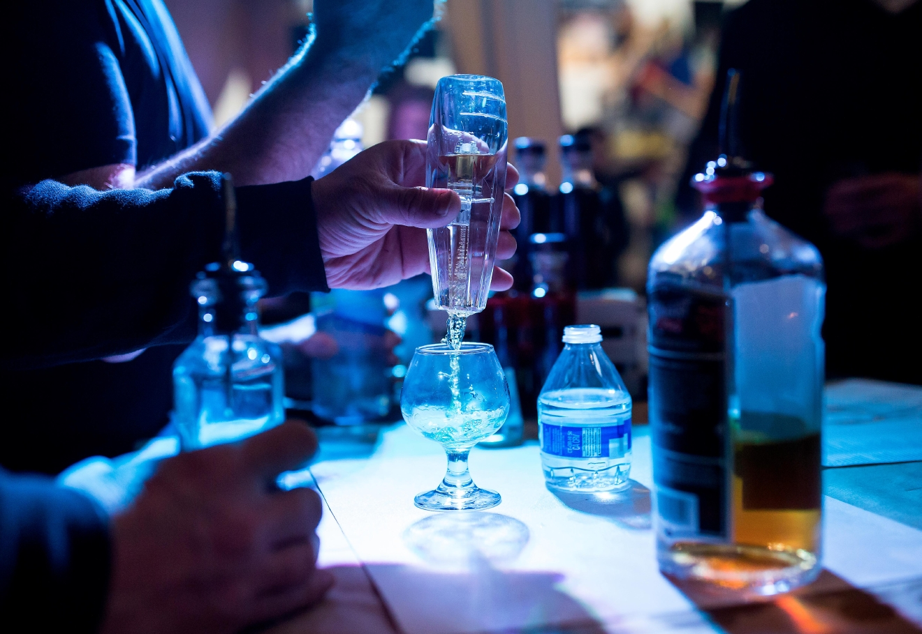 Chambers Bay Distillery aerates their bourbon at the Bourbon & Bacon Fest in SODO. (Sy Bean / Seattle Refined)