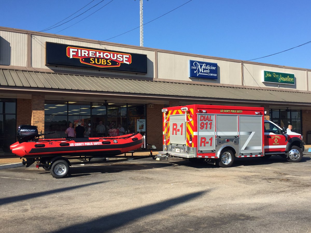 Lee County Public Safety has a new rescue boat thanks to a $15,000 donation from Firehouse Subs Public Safety Foundation Tuesday morning./ Mary Green