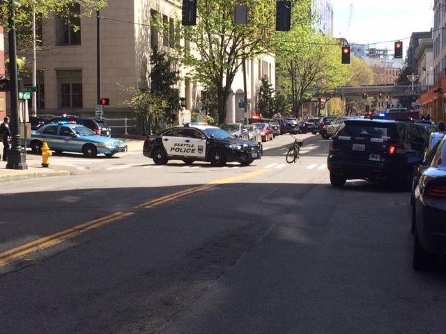 Two officers have been shot while responding to a reports of a robbery in downtown Seattle on Thursday, April 17, 2017. (KOMO Photo)