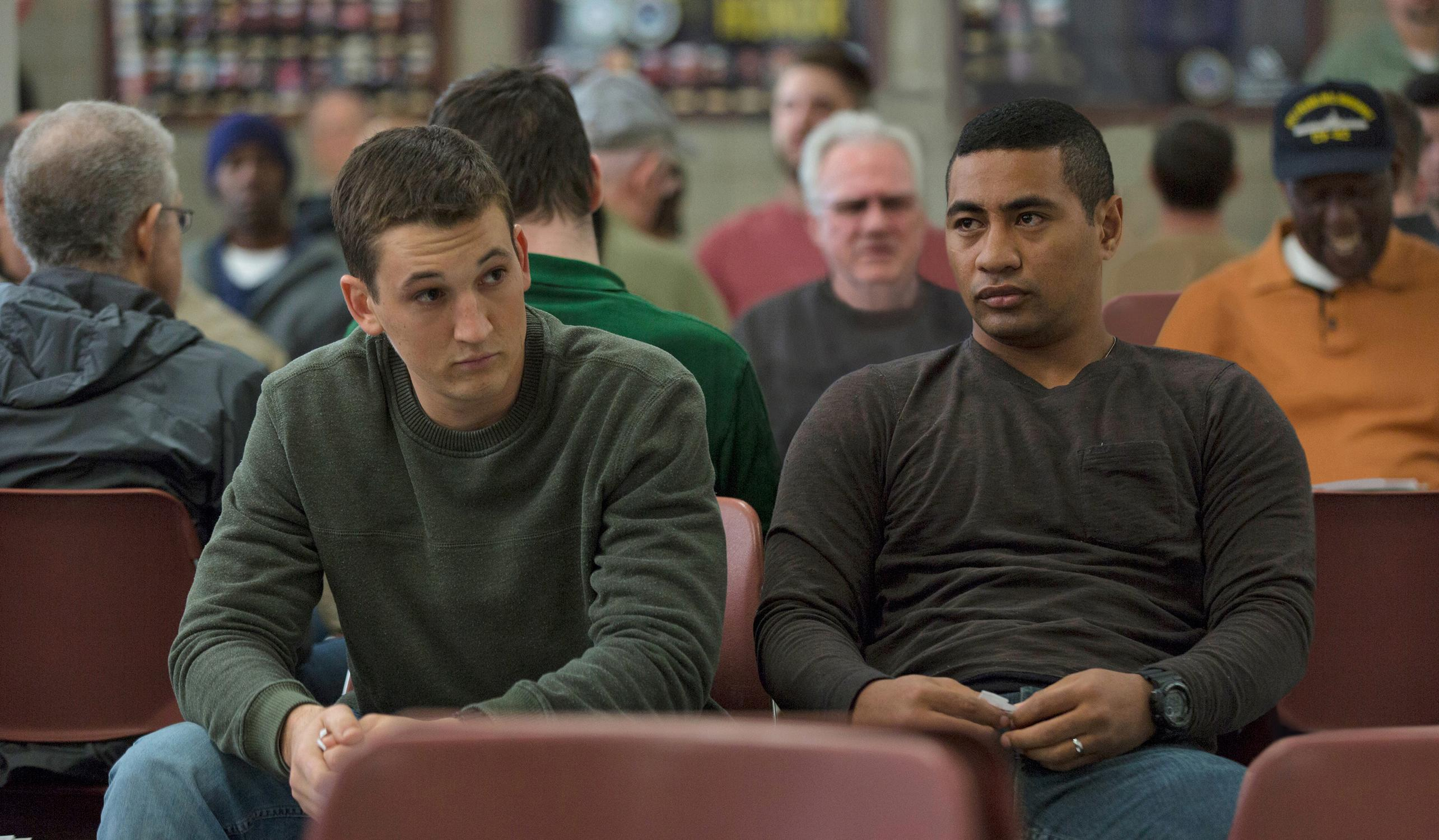 "(L to R) Adam Schumann (MILES TELLER) and Solo Aeiti (BEULAH KOALE) in DreamWorks Pictures' ""Thank You for Your Service.""  The drama follows a group of U.S. soldiers returning from Iraq who struggle to integrate back into family and civilian life, while living with the memory of a war that threatens to destroy them long after they've left the battlefield."
