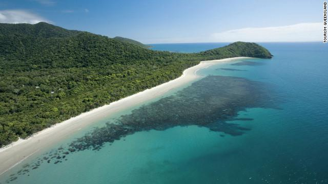 The lush green coastal strip of Cape Tribulation, the most northerly settlement of Queensland, Australia, is one of the few places where the rainforest meets the sea.