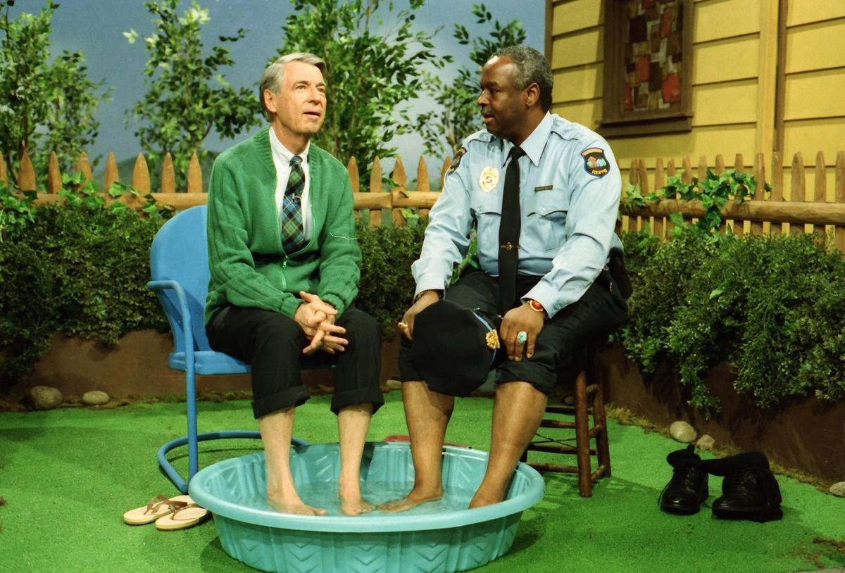 Fred Rogers (left) with Francois Scarborough Clemmons (right) from his show Mr. Rogers Neighborhood in the film, WON'T YOU BE MY NEIGHBOR?, a Focus Features release. (Photo: John Beale, Focus Features){ }