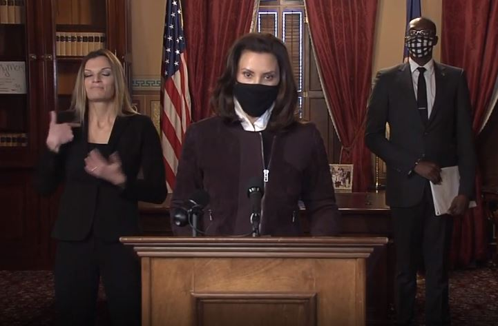 Gov. Gretchen Whitmer provides a briefing Thursday, Dec. 3, 2020, on the state's response to the pandemic. (WWMT)