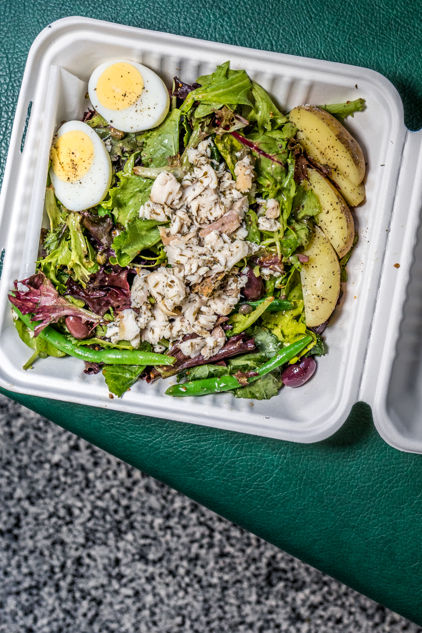 Nicoise Salad: eggs, capers, olives, potatoes, and Nicoise dressing / Image: Catherine Viox // Published: 6.1.20