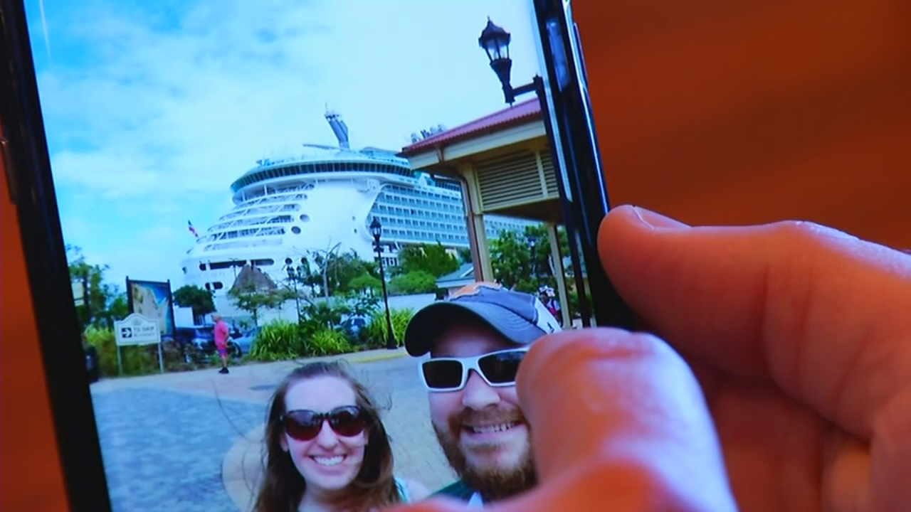 Local couple Adam Parker and Candace Schuler were among the sick a Royal Caribbean cruise ship over the weekend. (Photo credit: WLOS staff)