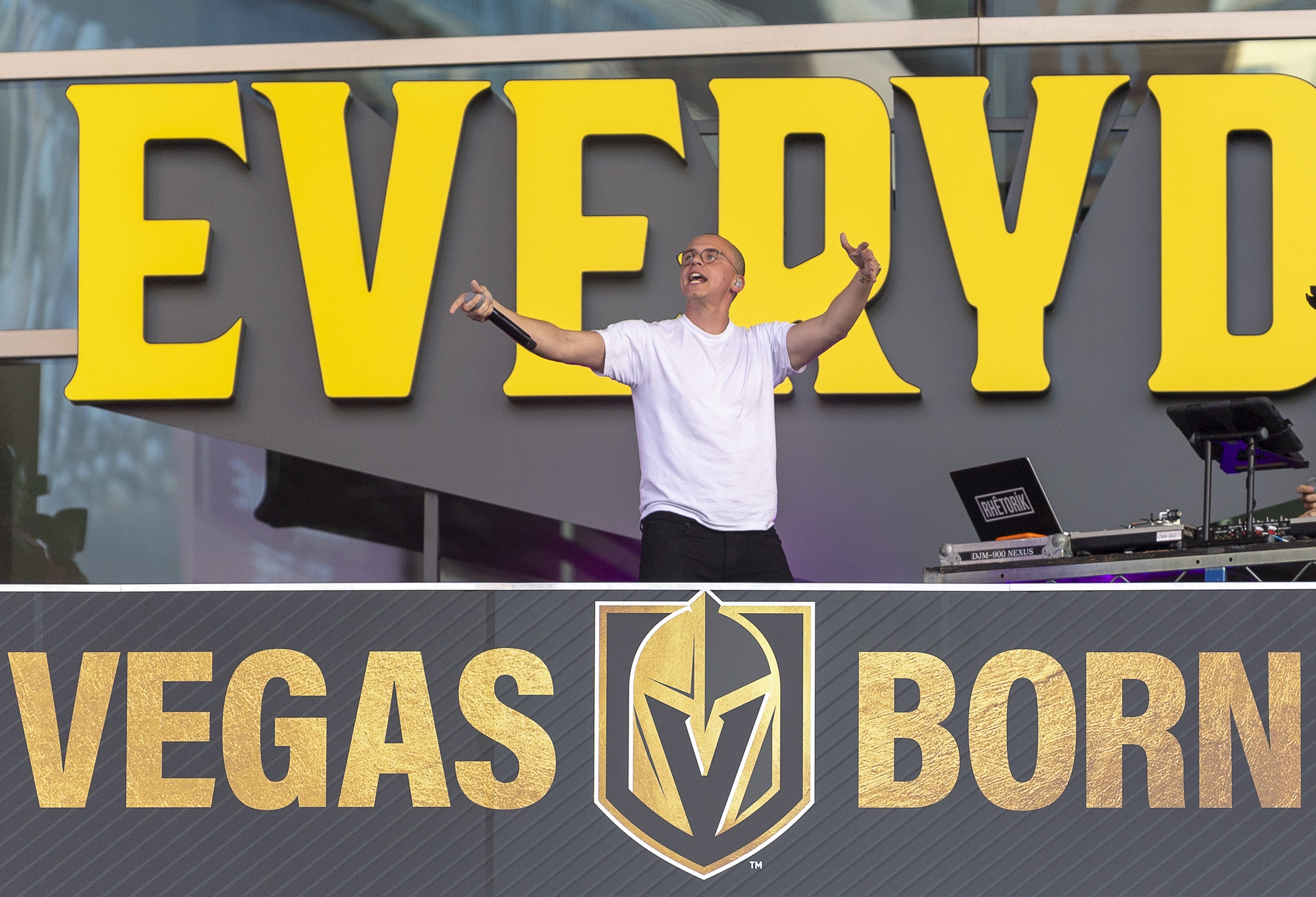 Rapper Logic performs for the crowd in the pre-game celebration at Toshiba Plaza as the Vegas Golden Knights prepare to meet the Los Angeles Kings in the first quarterfinal game of the NHL Stanley Cup Playoffs at T-Mobile Arena in Las Vegas on Wednesday, April 11, 2018.  CREDIT: Mark Damon/Las Vegas News Bureau