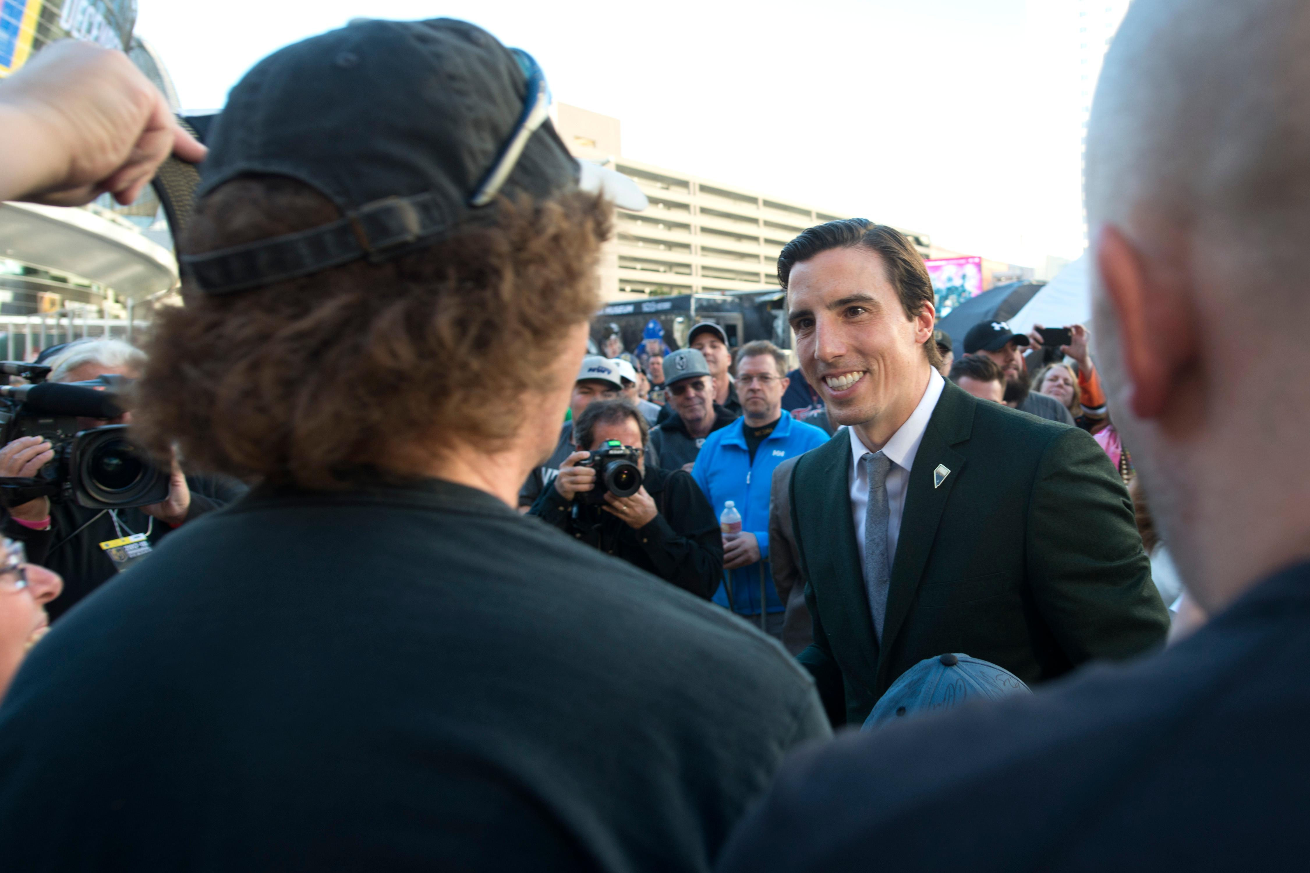 Vegas Golden Knights goalie Marc-Andre Fleury signs autographs before the Vegas Golden Knights home opener Tuesday, Oct. 10, 2017, against the Arizona Coyotes at the T-Mobile Arena. CREDIT: Sam Morris/Las Vegas News Bureau