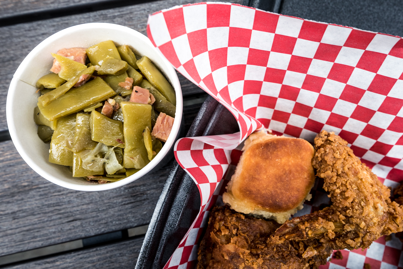 Fried chicken with biscuits and green beans / Image: Catherine Viox{ }// Published: 3.25.20