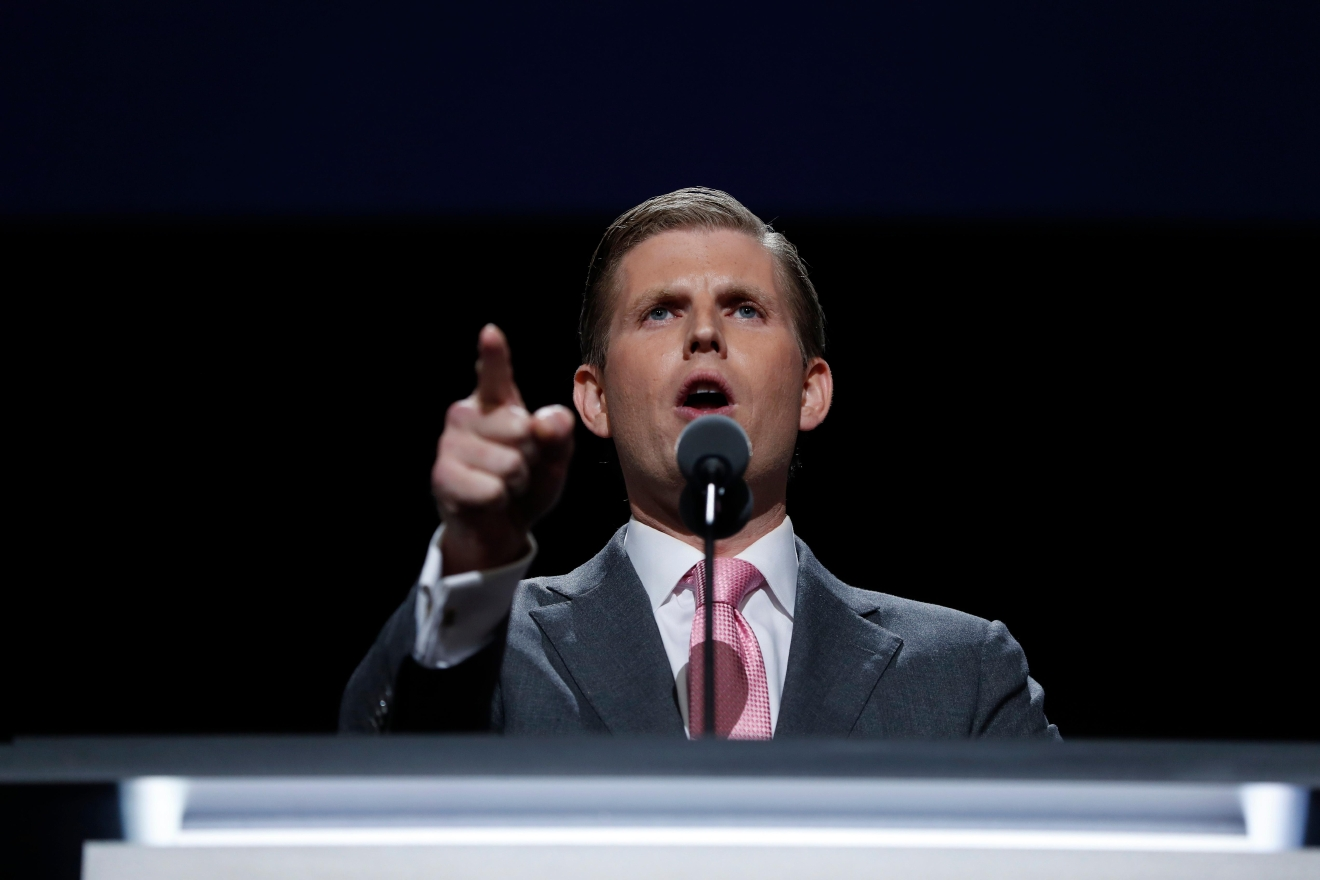 Eric Trump, son of Republican Presidential nominee Donald J. Trump, speaks during the third day session of the Republican National Convention in Cleveland, Wednesday, July 20, 2016. (AP Photo/Carolyn Kaster)
