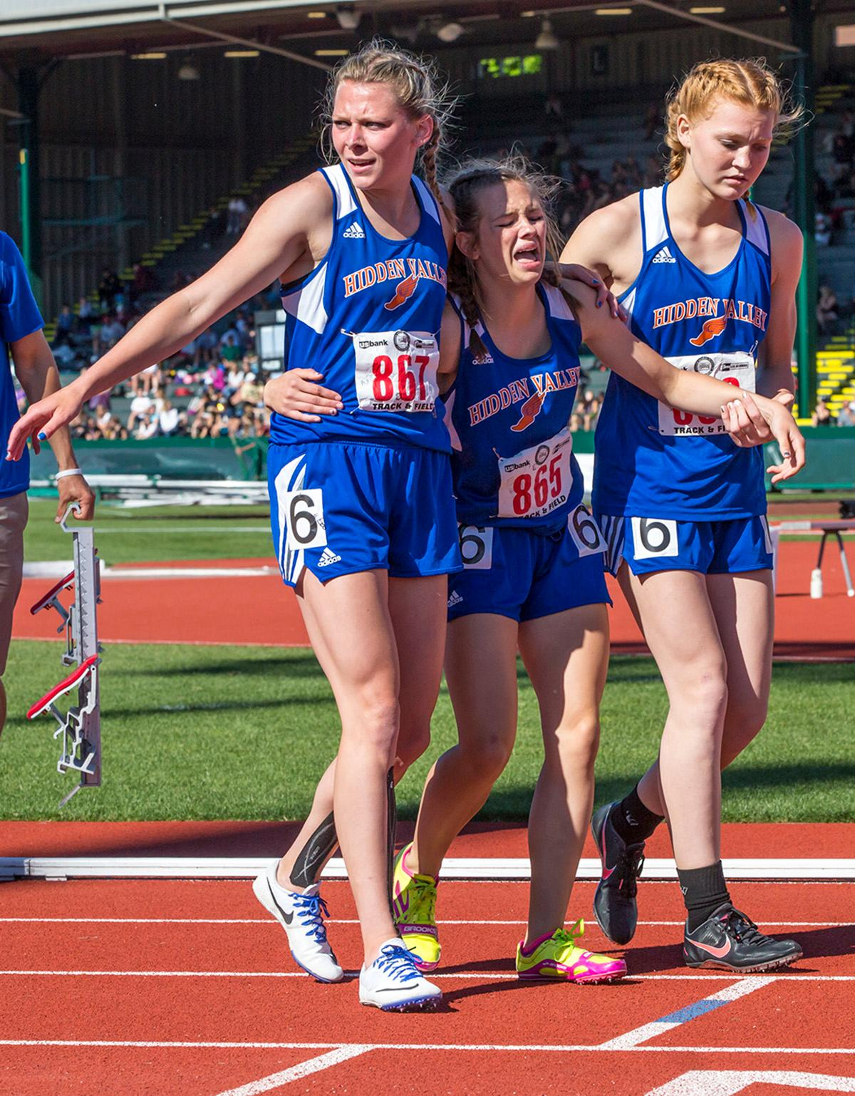 Hidden Valley wins the 4A Girls 4x400 meter relay with a time of 4:04.22 at the OSAA State Track Championships at Hayward Field on Saturday. Photo by James Wegter, Oregon News Lab