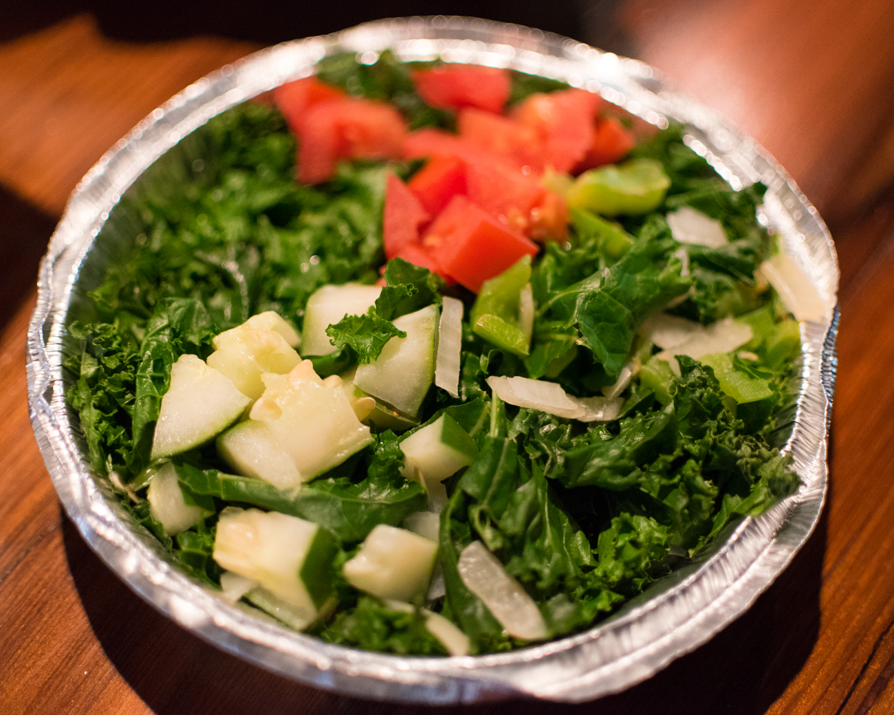 Fresh Chopped Veggie Salad: steamed kale, fresh tomato, green pepper, onion, and cracked pepper / Image: Phil Armstrong, Cincinnati Refined // Published: 12.20.16