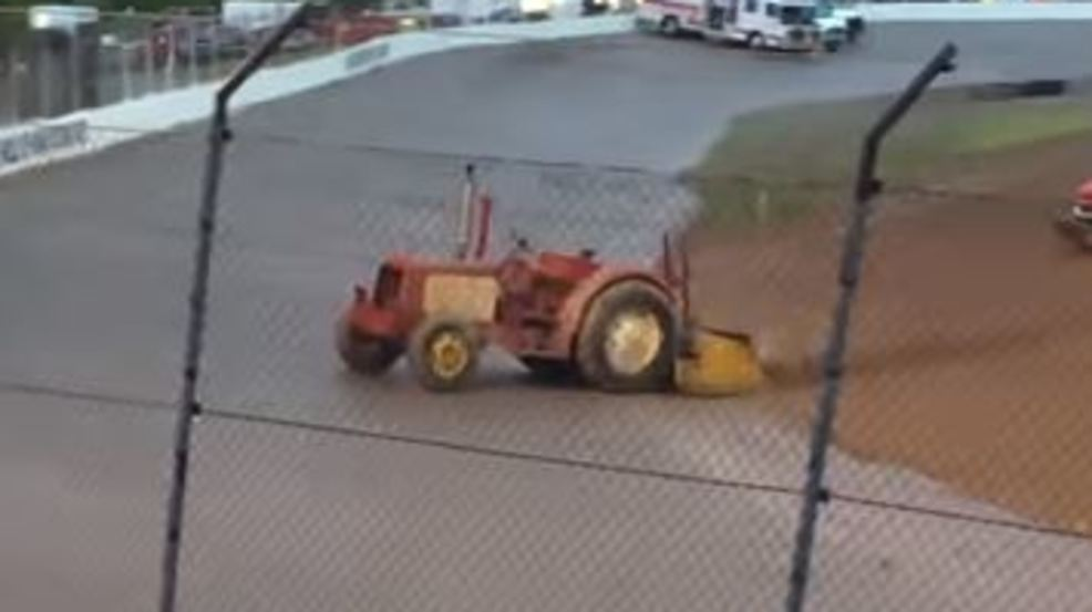 Tractor continues without driver at Tri-CIty Speedway in Auburn. (Picture from Adam P)