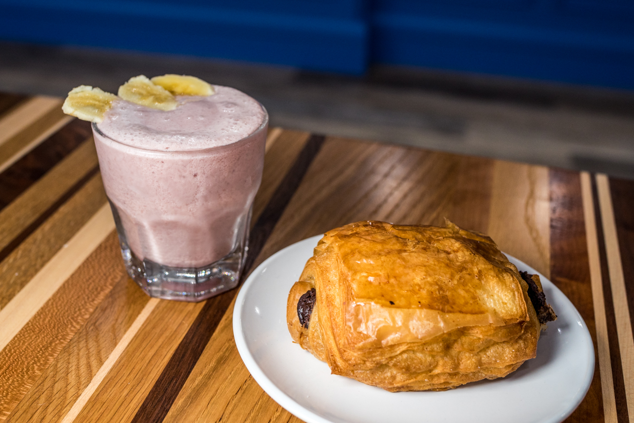 A chocolate croissant with a strawberry banana smoothie / Image: Catherine Viox{ }// Published: 8.5.20