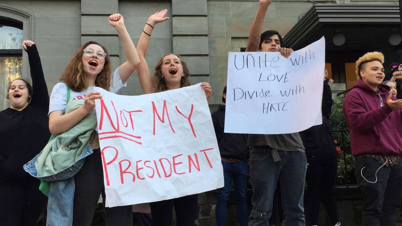 Several dozen students from various high schools in the Portland, Ore., metropolitan area gather downtown to protest Republican nominee Donald Trump's victory in Tuesday's presidential election, Wednesday, Nov. 9, 2016. (AP Photo/Gillian Flaccus)
