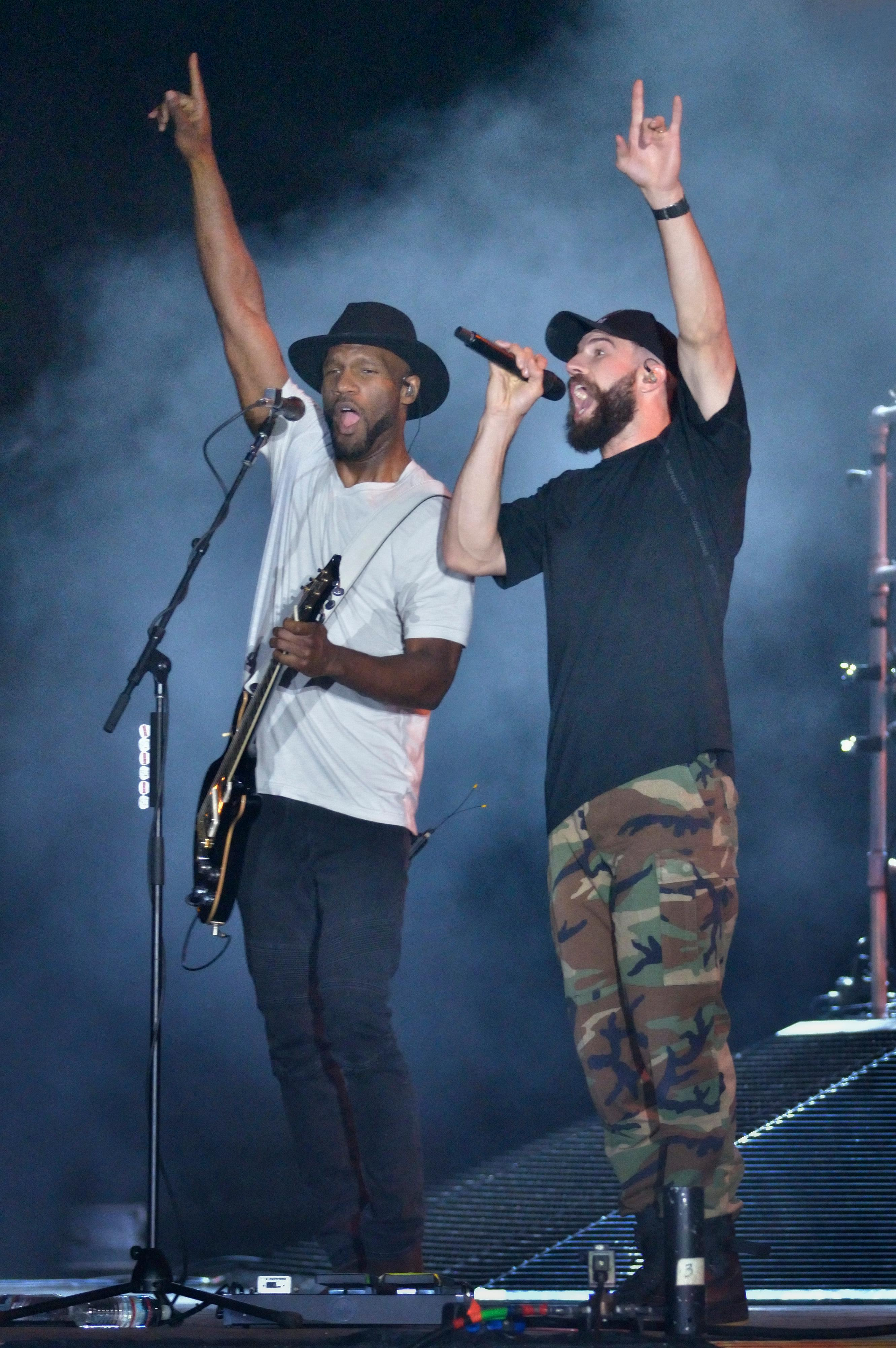 Sam Hunt, right, performs with Tyrone Carreker during the Route 91 Harvest festival on Las Vegas Boulevard South in Las Vegas on Saturday, Sept. 30, 2017.  [Bill Hughes/Las Vegas News Bureau]