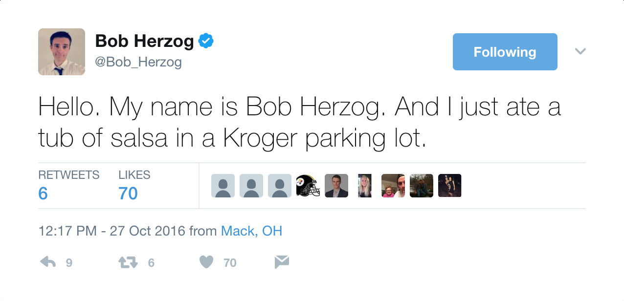 Bob Herzog, the popular morning news anchor for Local 12, is beloved due to his sterling sense of humor on TV. That same hilarity translates well to Twitter, where he keeps a steady stream of comedy flowing in 140 characters or less every day. Give him a follow: @Bob_Herzog / Image courtesy of @Bob_Herzog on Twitter // Published: 6.2.17