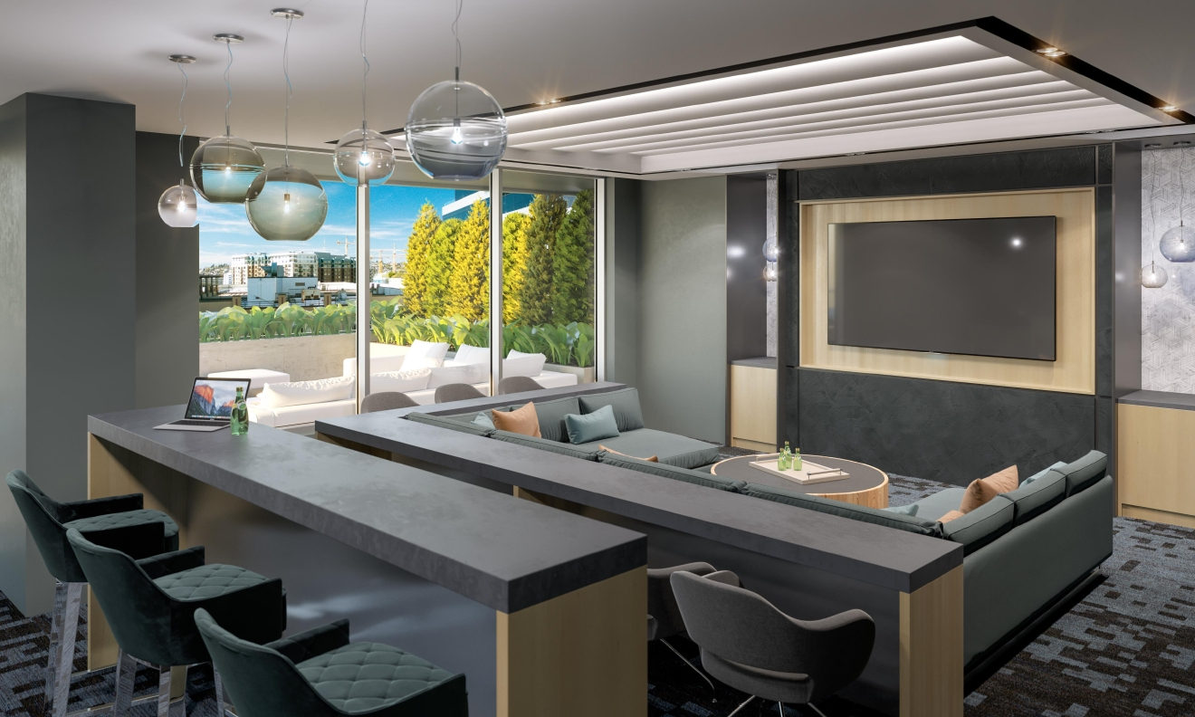 Residents can use the Xen app to reserve spaces like this special media room – another amenity that pushes NEXUS past the typical constraints associated with smaller living spaces.