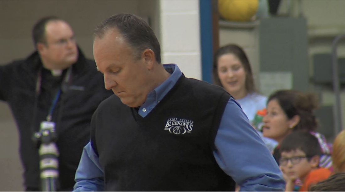 Kevin Asher coaching St. Cecilia on Dec. 20, 2016 (NTV News)