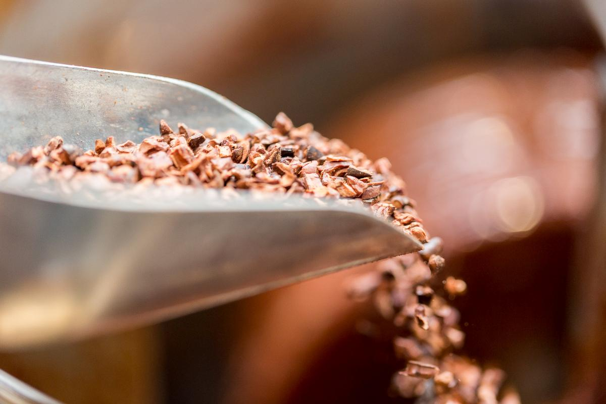 Ground cacao nibs are mixed with melted cocoa butter to form chocolate.  --  Image: Daniel Smyth Photography