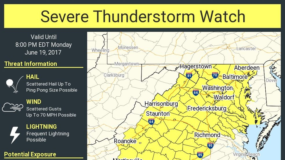 Severe Thunderstorm Watch issued for parts of Maryland | WBFF