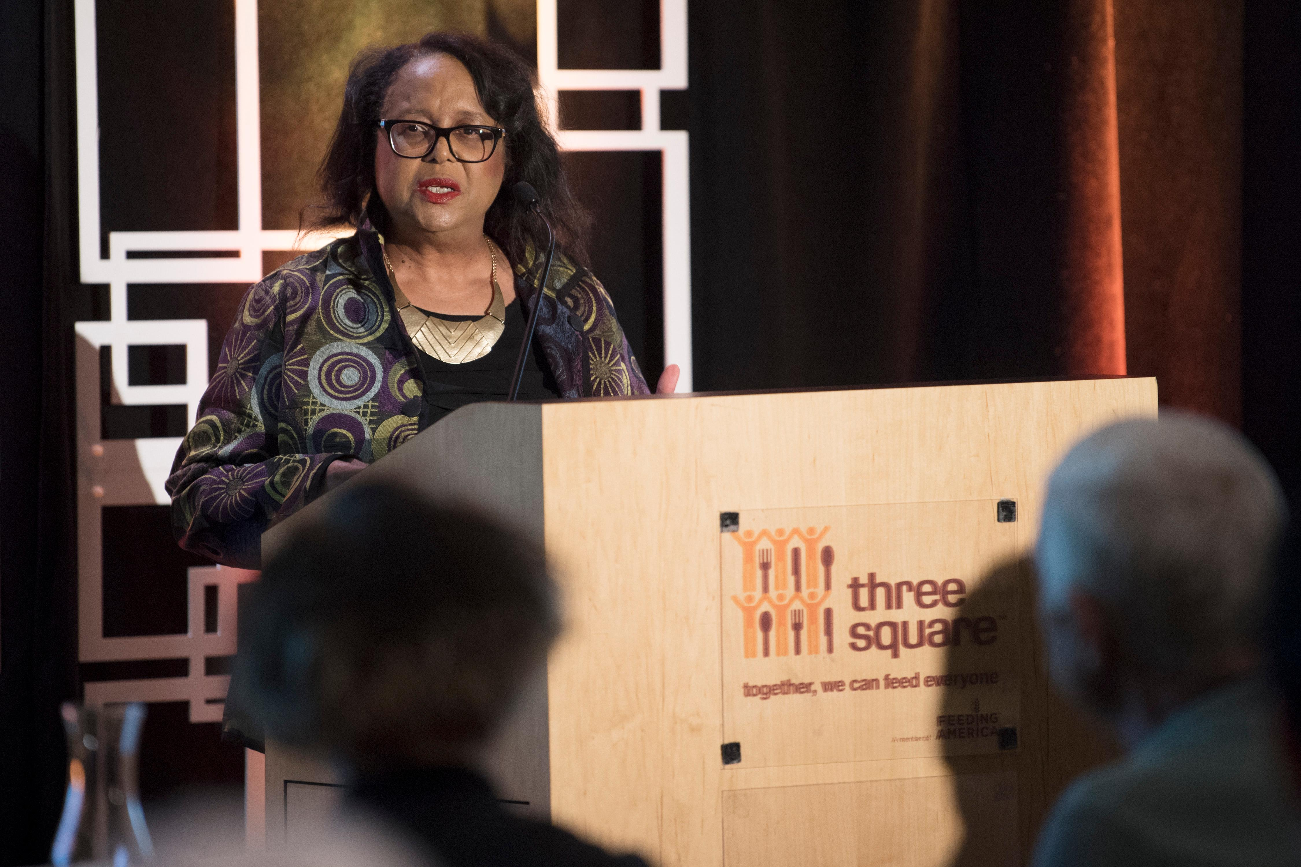 MGM Resorts International Executive Vice President and Chief Corporate Social Responsibility Officer Phyllis James speaks during an event announcing a partnership between MGM Resorts International and Three Square food bank to expand their surplus banquet food rescue program Wednesday, January 17, 2018. CREDIT: Sam Morris/Las Vegas News Bureau