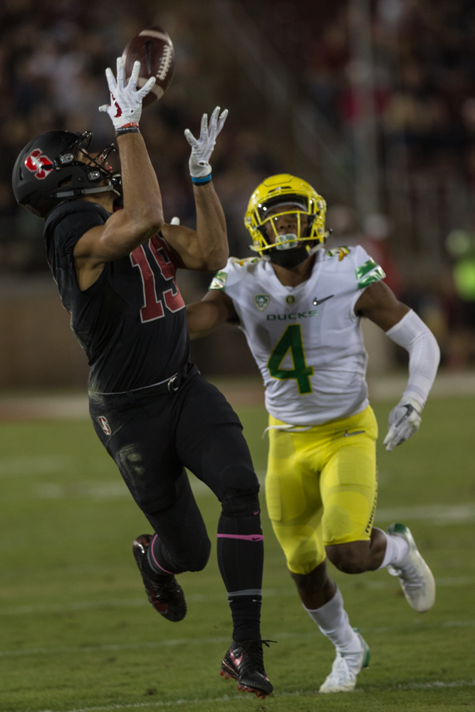 Stanford wide receiver JJ Arcega-Whitesidew (#19) catches a pass. The Oregon Ducks are trailing the Stanford Cardinal 28-7 at halftime at Stanford Stadium in California.  Photo by Austin Hicks, Oregon News Lab