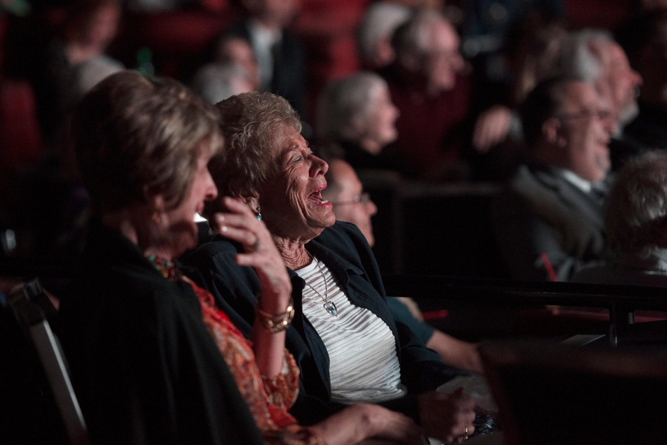 Audience members laugh as comedian Marty Allen performs on his 95th birthday at the South Point Thursday, March 23, 2017. [Sam Morris/Las Vegas News Bureau]