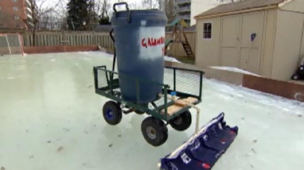Canadian dad creates homemade zamboni to clean backyard ...