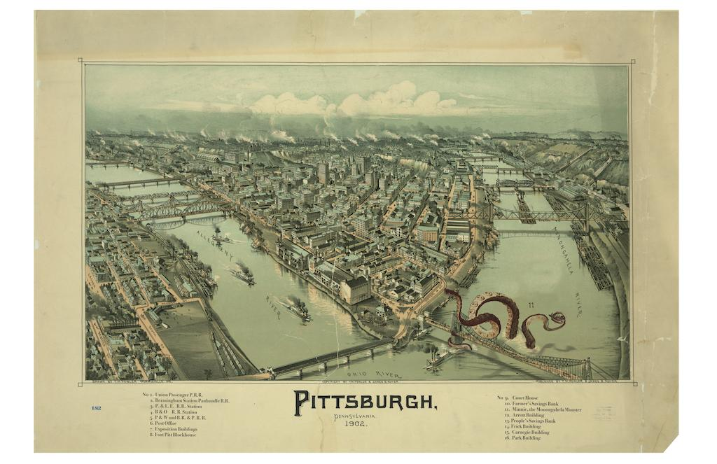 """This hand-drawn view of Pittsburgh includes a key to such interesting items as the Exposition buildings, various railroad terminals, and Minnie the Monongahela Monster."" / Image courtesy of Matt Buchholz, Alternate Histories // Published: 6.19.19"