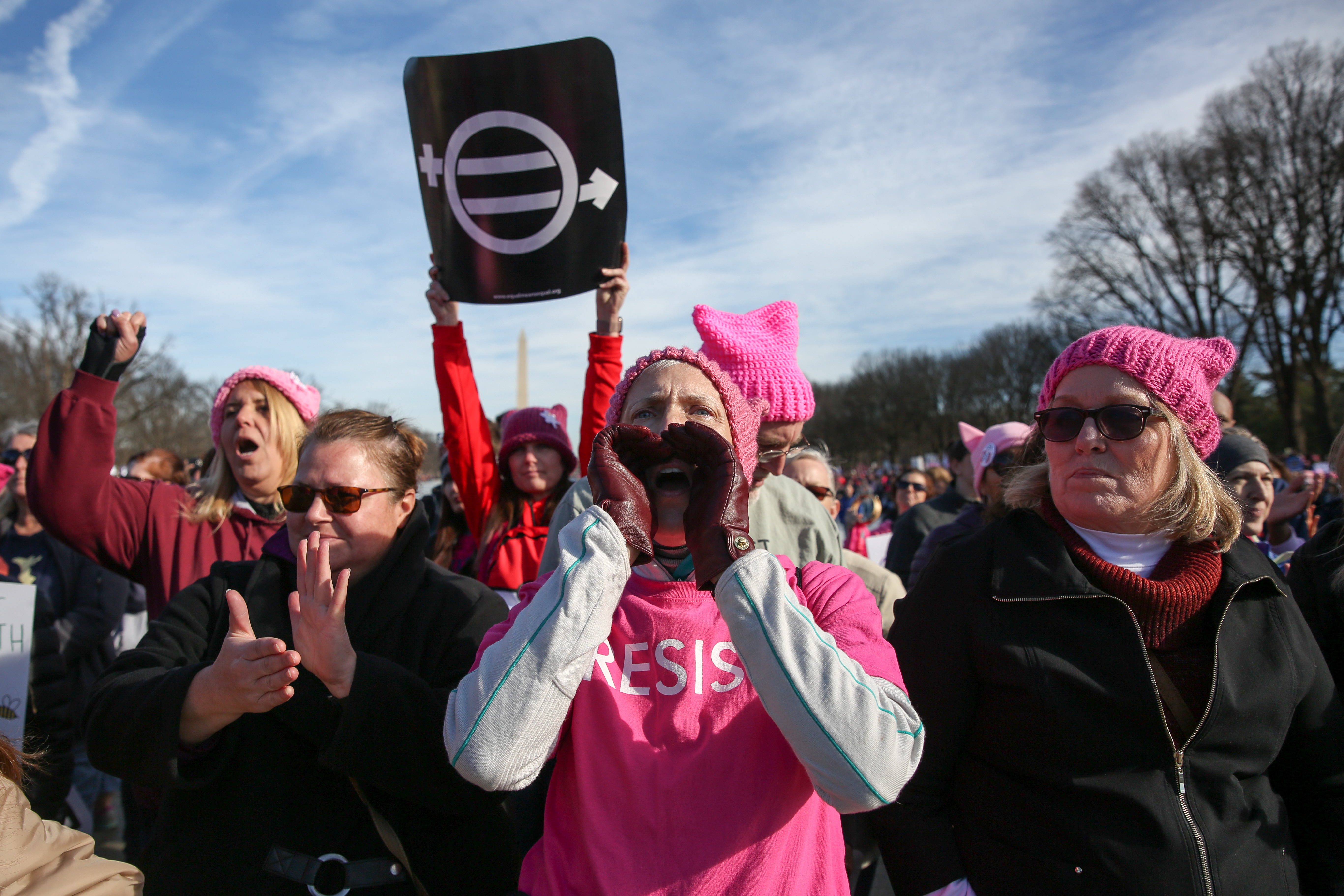 Thousands of women and their supporters took to the streets of D.C. today, marching between the Lincoln Memorial and the White House. The message of the second Women's March was focused on voting and encouraging women to vote ahead of the 2018 primary, where Democrats have the chance to take over the House and Senate. (Amanda Andrade-Rhoades/DC Refined)