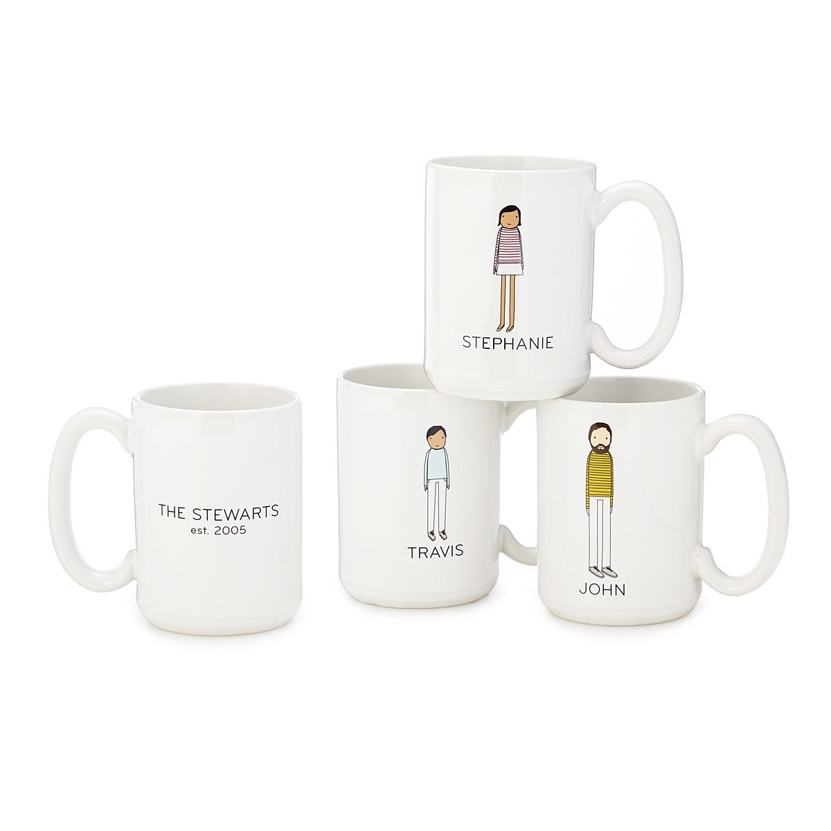 Characterize your family's unique collection of individuals with these personalized mugs featuring the sophisticated simplicity of Mary and Shelly Klein's artwork. One side features the artists' depiction of individual family members, personalized through your choices of skin tone, hair, clothing color, and the mug owner's first name, while the other displays your family name and year established (optional). Create a set to celebrate the individuals connected through your family ties, whether you're all around the same table, or enjoying coffee in different time zones. Starting at $30 on Uncommongood.com. (Image:{ }Uncommongoods.com){ }