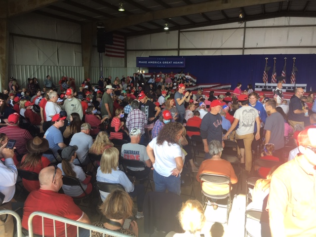 Oct. 27, 2020 - Hundreds gather hours ahead of Vice President Mike Pence's Greenville, S.C. campaign stop. (Photo credit: WLOS Staff)